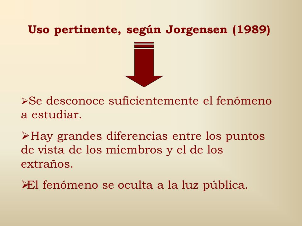 Uso pertinente, según Jorgensen (1989)