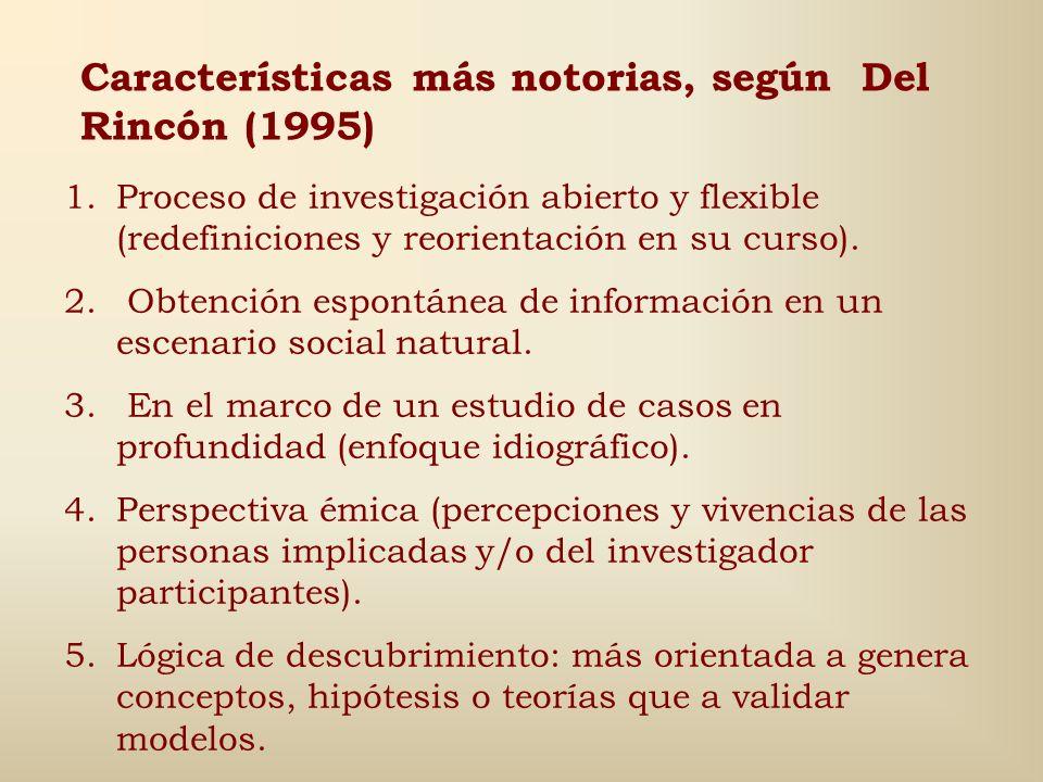 Características más notorias, según Del Rincón (1995)