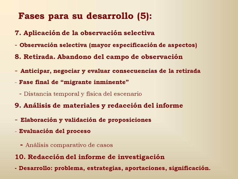 Fases para su desarrollo (5):
