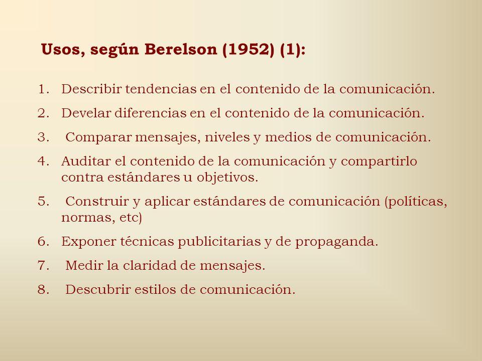 Usos, según Berelson (1952) (1):