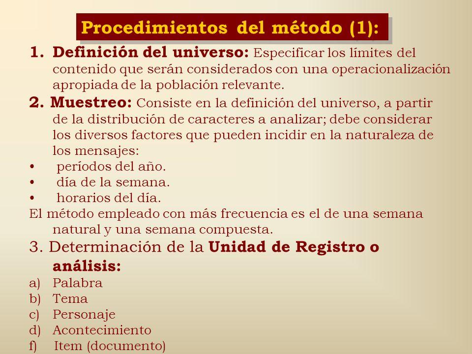 Procedimientos del método (1):