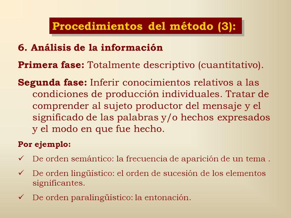 Procedimientos del método (3):
