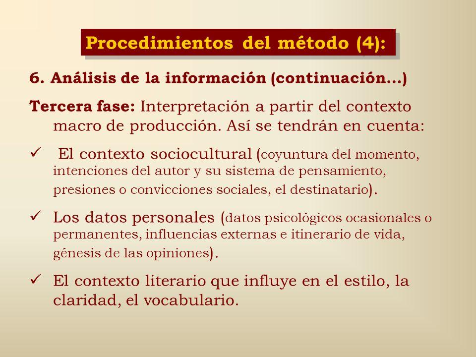 Procedimientos del método (4):