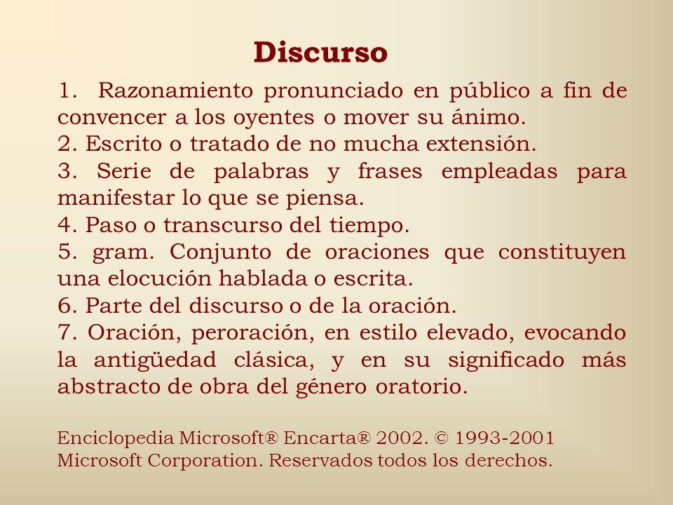 Discurso 1. Razonamiento pronunciado en público a fin de convencer a los oyentes o mover su ánimo.