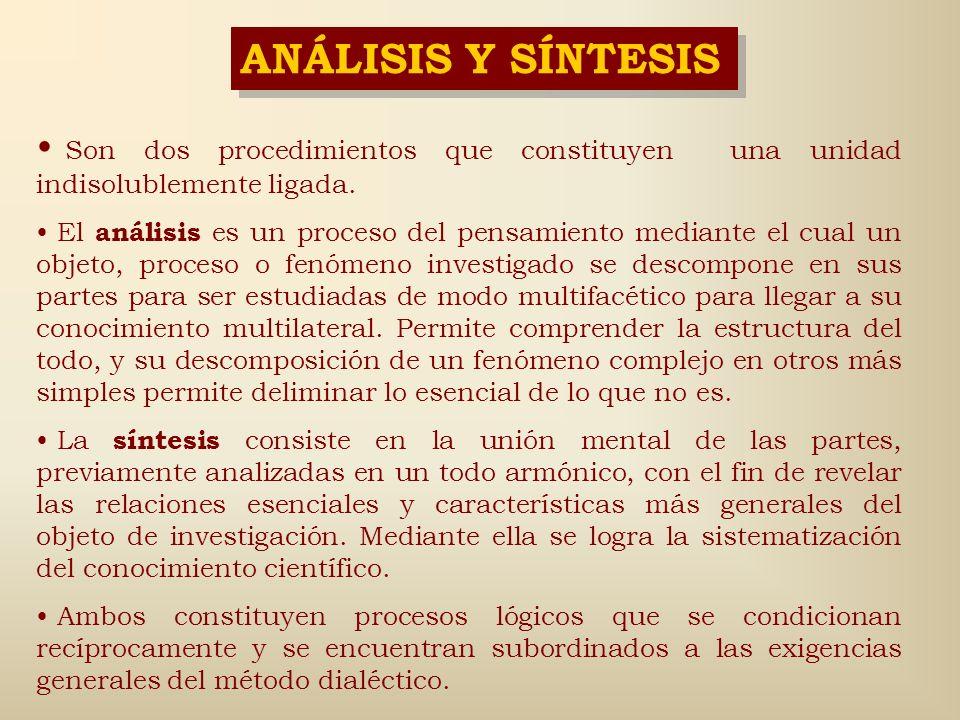 ANÁLISIS Y SÍNTESIS Son dos procedimientos que constituyen una unidad indisolublemente ligada.