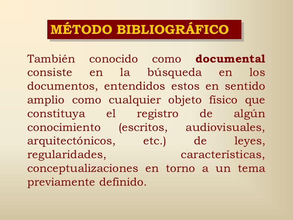 MÉTODO BIBLIOGRÁFICO