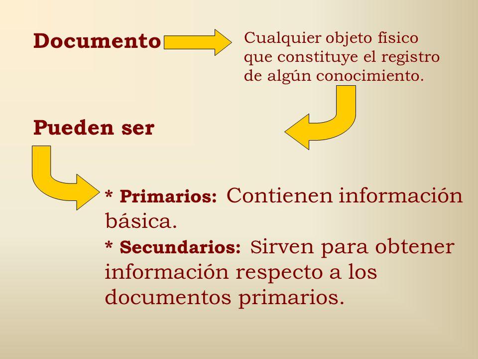 Documento Pueden ser * Primarios: Contienen información básica.