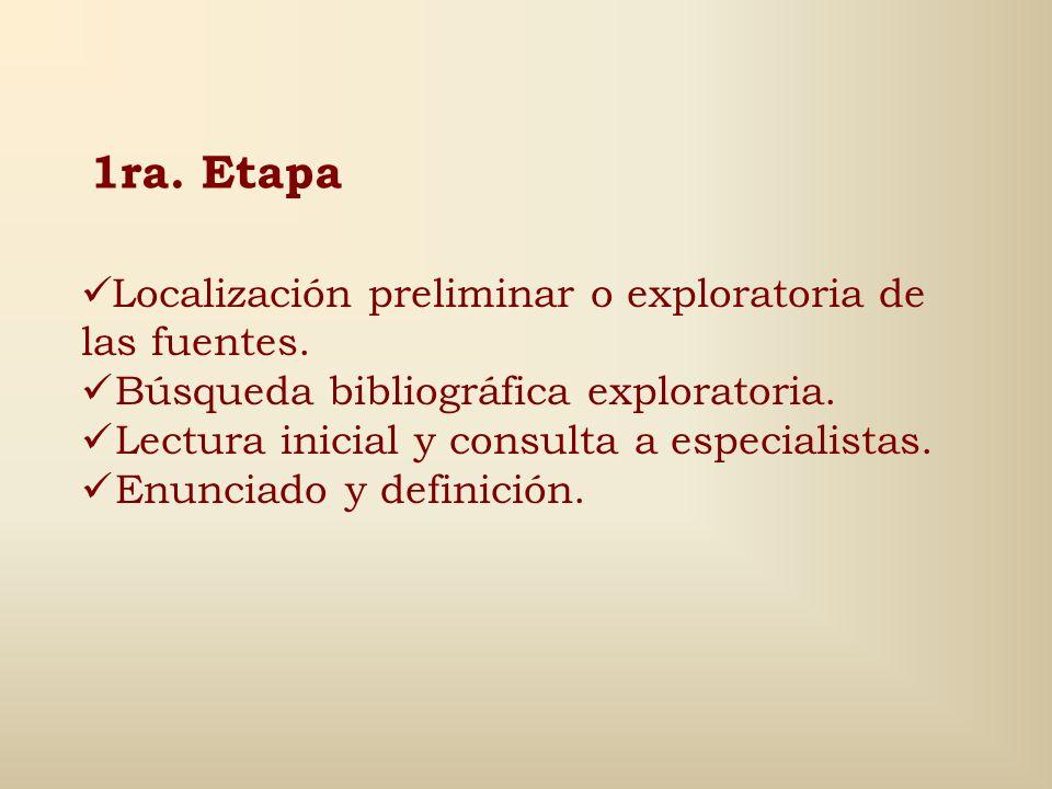 1ra. Etapa Localización preliminar o exploratoria de las fuentes.