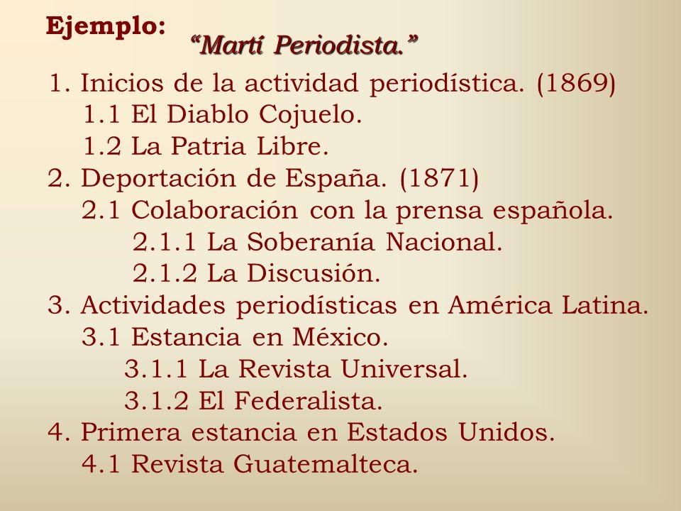 Ejemplo: Martí Periodista. 1. Inicios de la actividad periodística. (1869) 1.1 El Diablo Cojuelo.