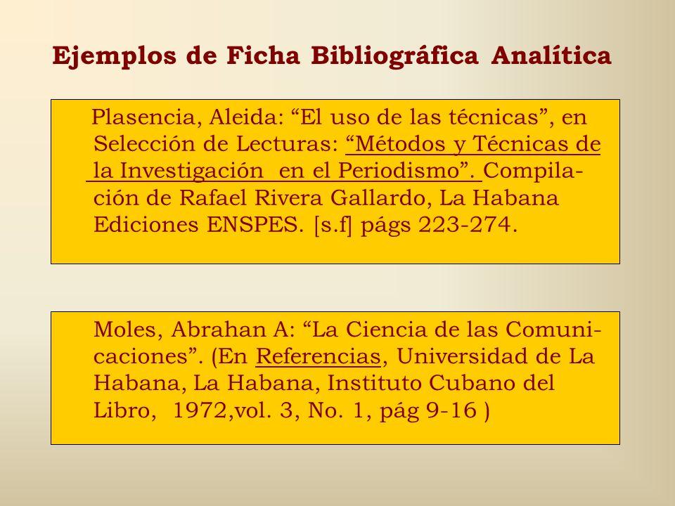 Ejemplos de Ficha Bibliográfica Analítica