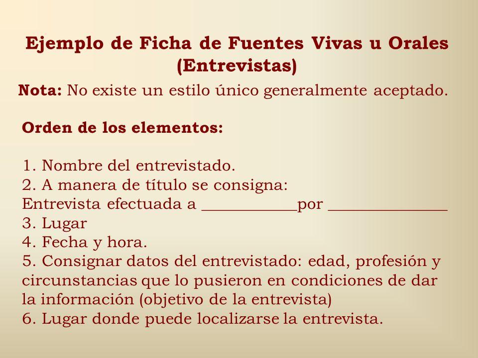 Ejemplo de Ficha de Fuentes Vivas u Orales (Entrevistas)