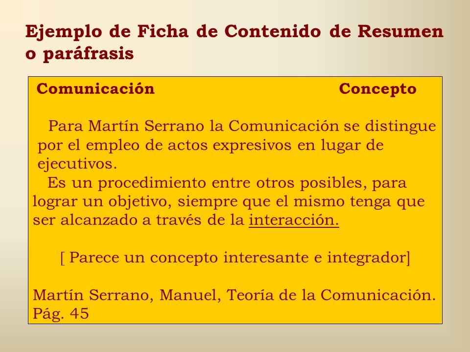 Ejemplo de Ficha de Contenido de Resumen o paráfrasis