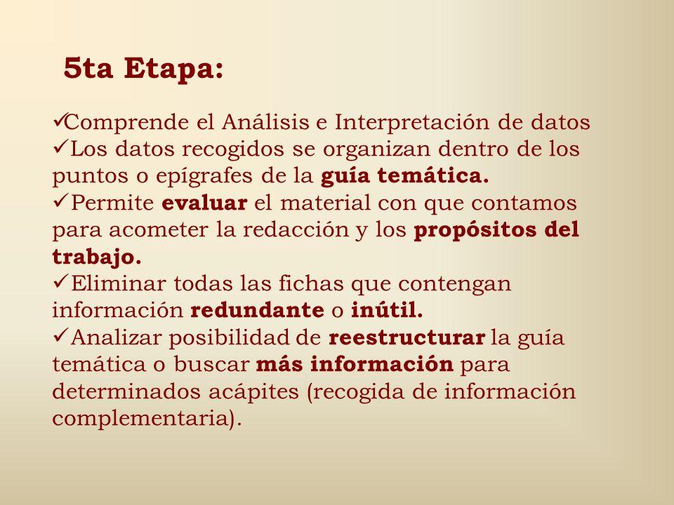 5ta Etapa: Comprende el Análisis e Interpretación de datos