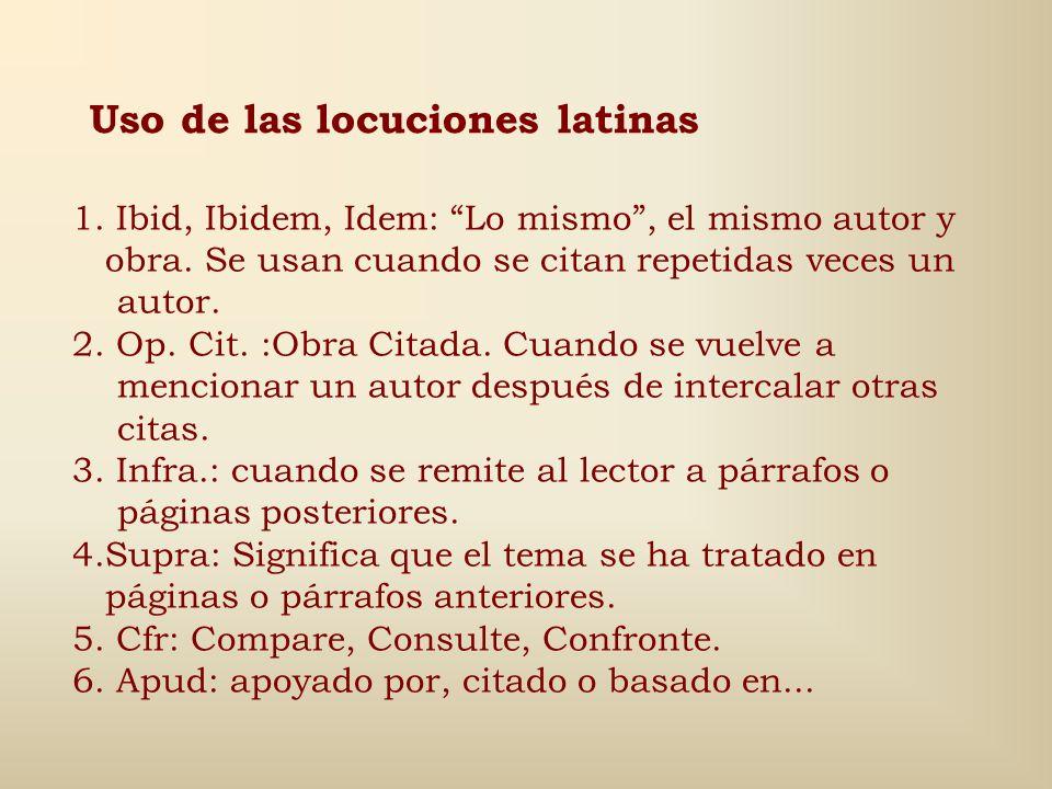 Uso de las locuciones latinas