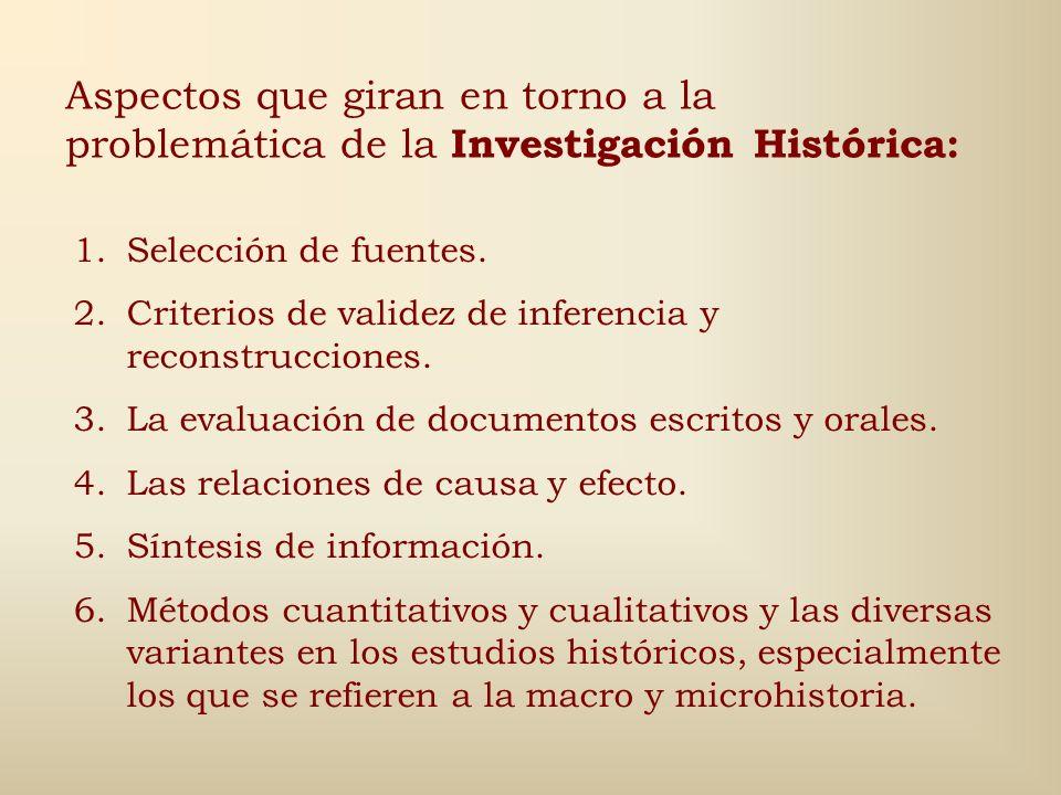 Aspectos que giran en torno a la problemática de la Investigación Histórica: