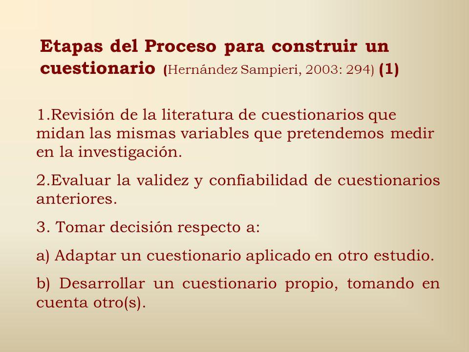 Etapas del Proceso para construir un cuestionario (Hernández Sampieri, 2003: 294) (1)