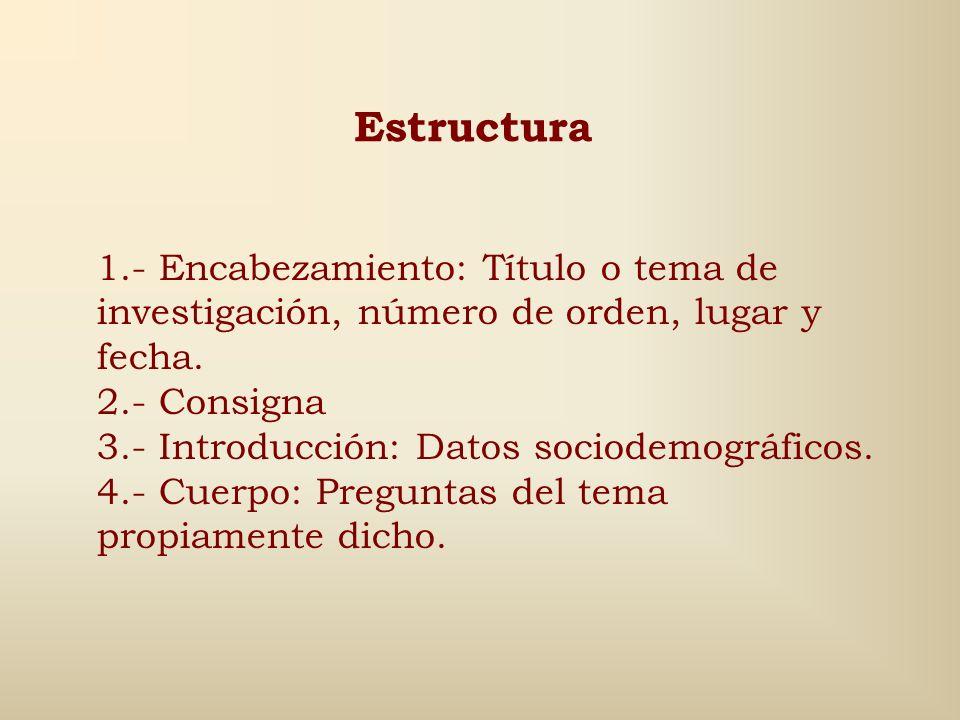 Estructura 1.- Encabezamiento: Título o tema de investigación, número de orden, lugar y fecha. 2.- Consigna.