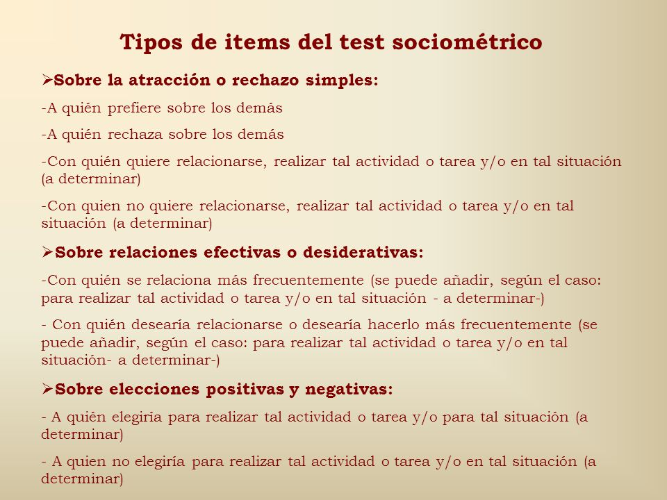 Tipos de items del test sociométrico