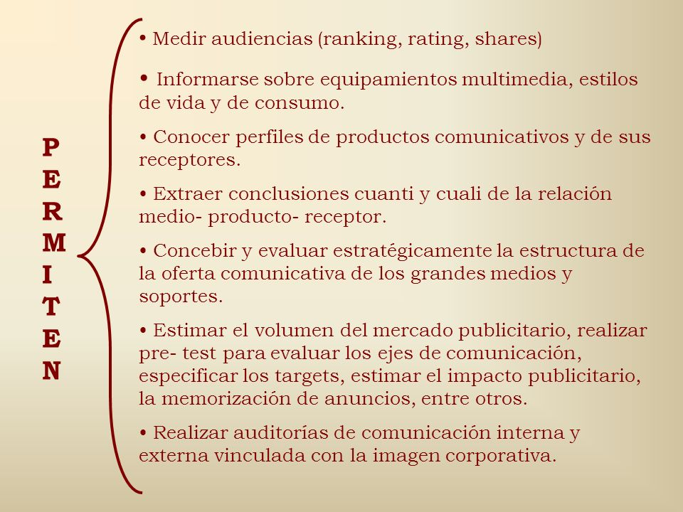 PERMITEN Medir audiencias (ranking, rating, shares)
