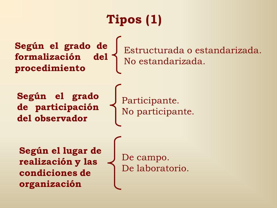 Tipos (1) Según el grado de formalización del procedimiento