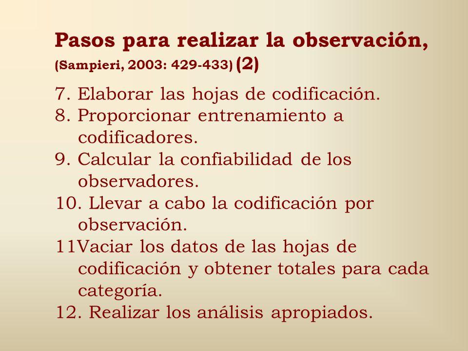 Pasos para realizar la observación, (Sampieri, 2003: 429-433) (2)