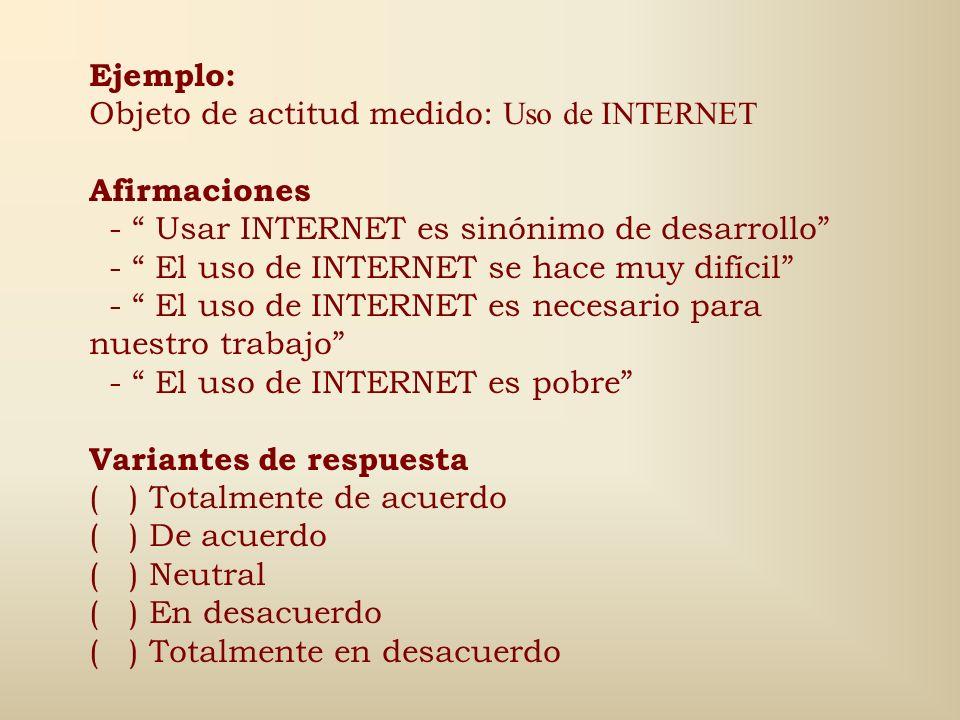Ejemplo: Objeto de actitud medido: Uso de INTERNET. Afirmaciones. - Usar INTERNET es sinónimo de desarrollo