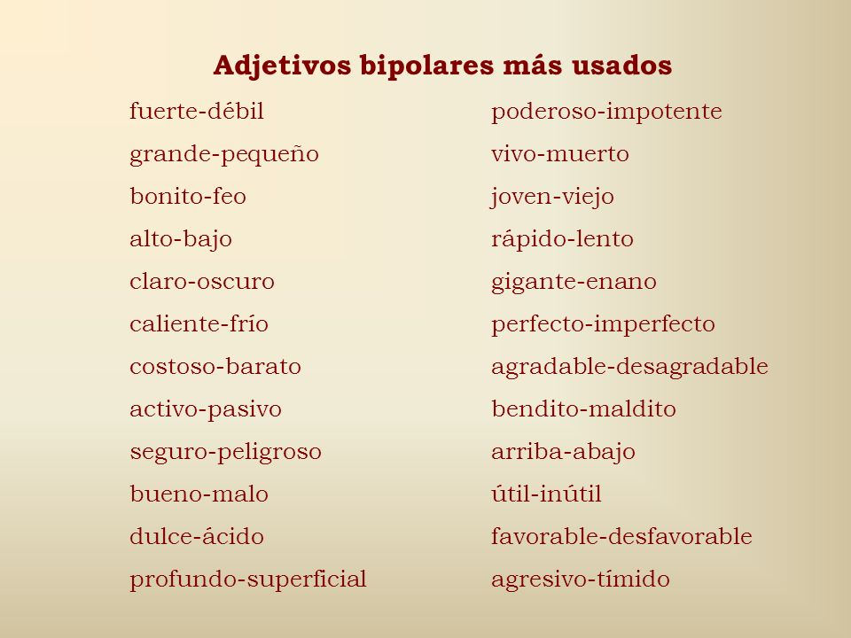 Adjetivos bipolares más usados