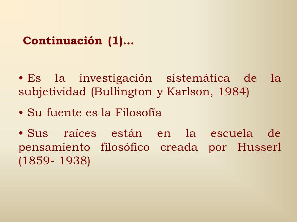 Continuación (1)… Es la investigación sistemática de la subjetividad (Bullington y Karlson, 1984) Su fuente es la Filosofía.