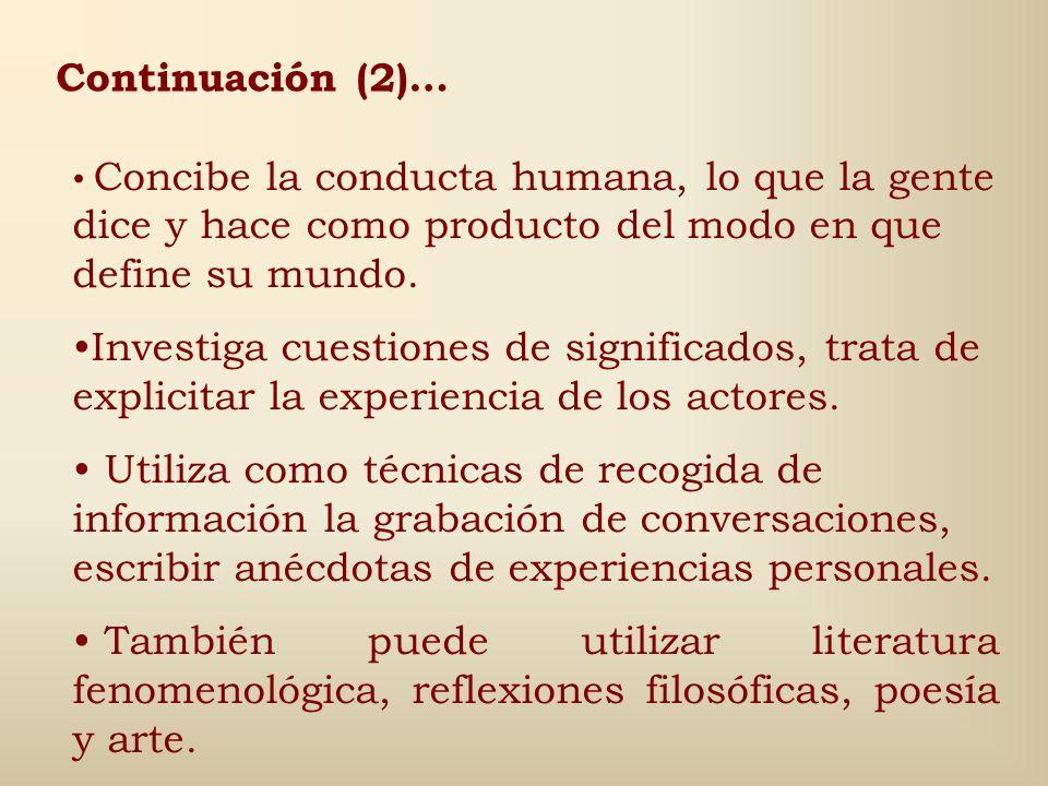 Continuación (2)… Concibe la conducta humana, lo que la gente dice y hace como producto del modo en que define su mundo.