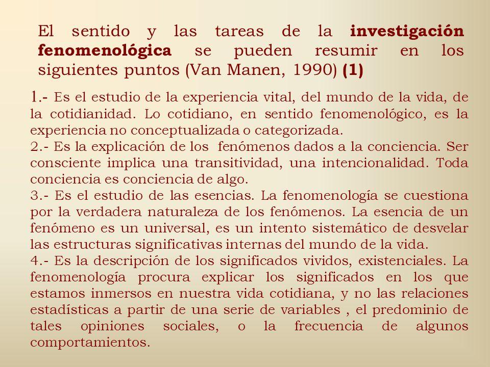 El sentido y las tareas de la investigación fenomenológica se pueden resumir en los siguientes puntos (Van Manen, 1990) (1)