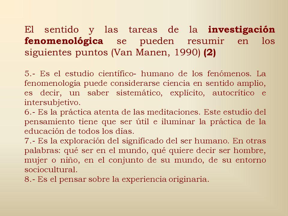El sentido y las tareas de la investigación fenomenológica se pueden resumir en los siguientes puntos (Van Manen, 1990) (2)