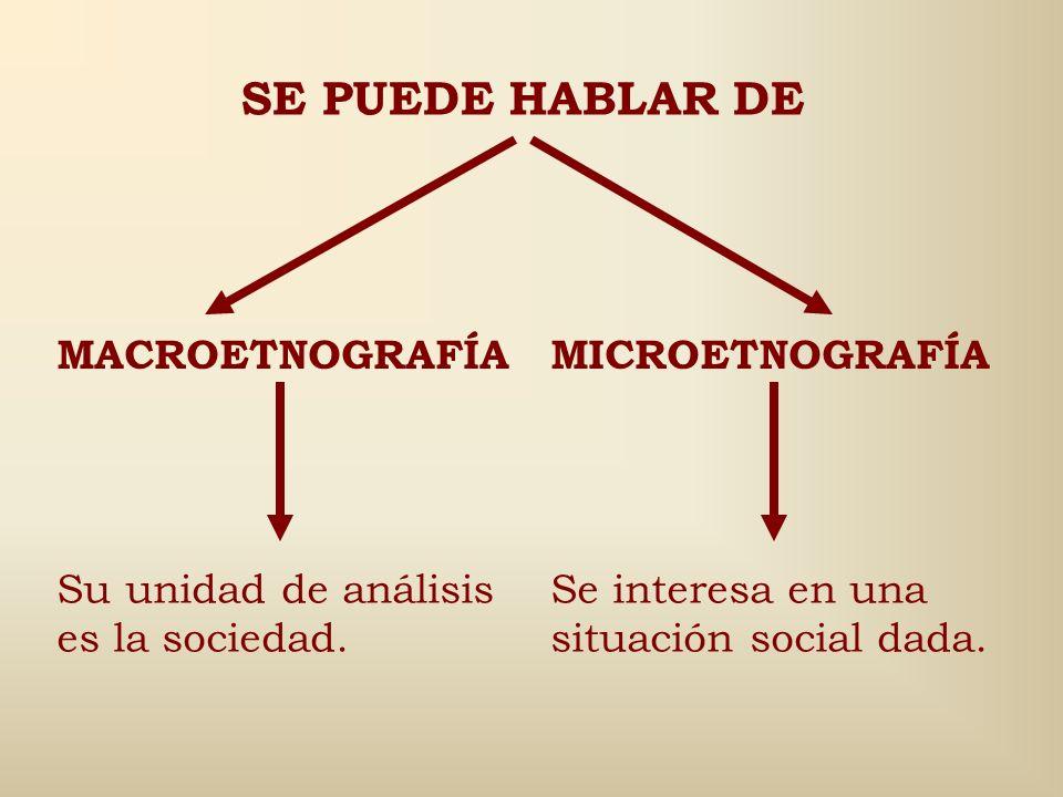 SE PUEDE HABLAR DE MACROETNOGRAFÍA MICROETNOGRAFÍA