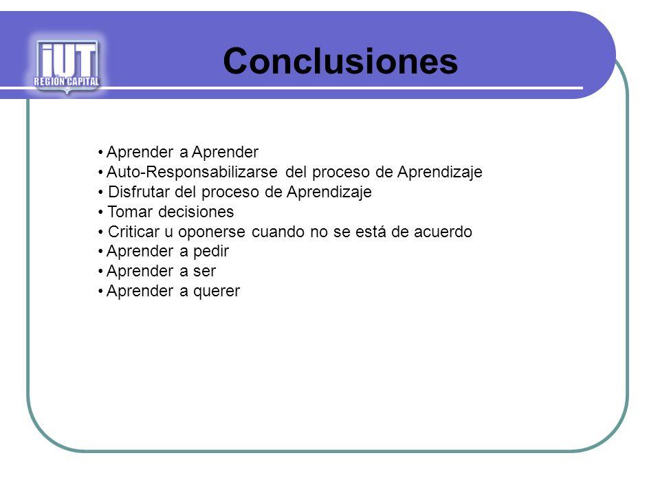 iUT Conclusiones Aprender a Aprender