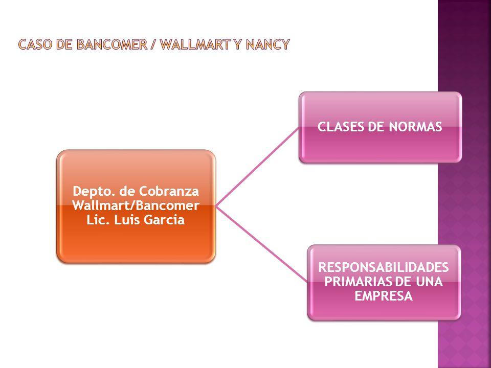 Depto. de Cobranza Wallmart/Bancomer Lic. Luis Garcia