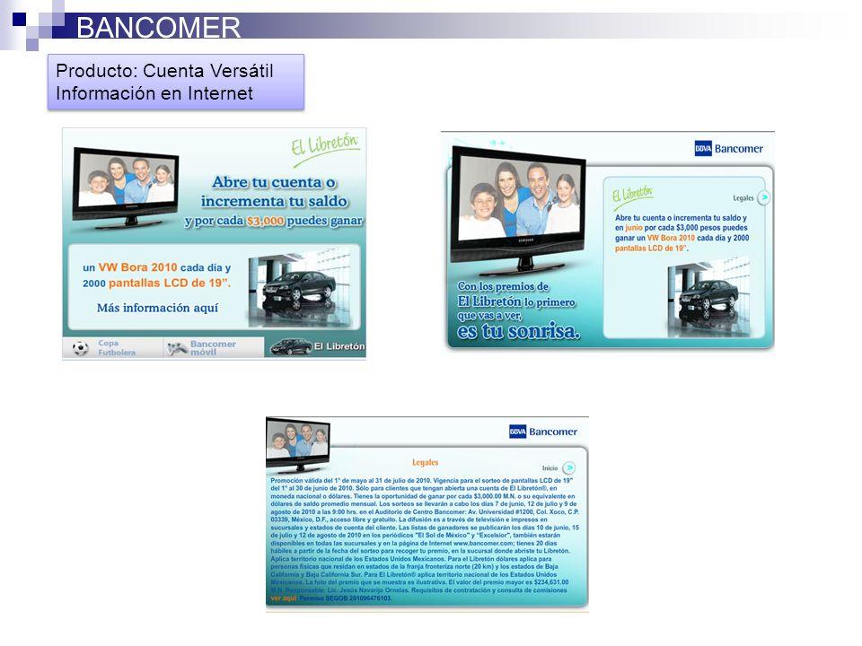 BANCOMER Producto: Cuenta Versátil Información en Internet