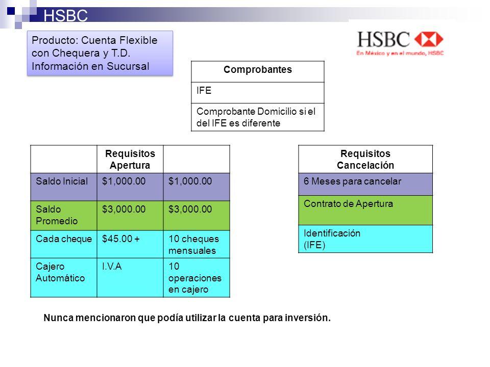 HSBC Producto: Cuenta Flexible con Chequera y T.D.