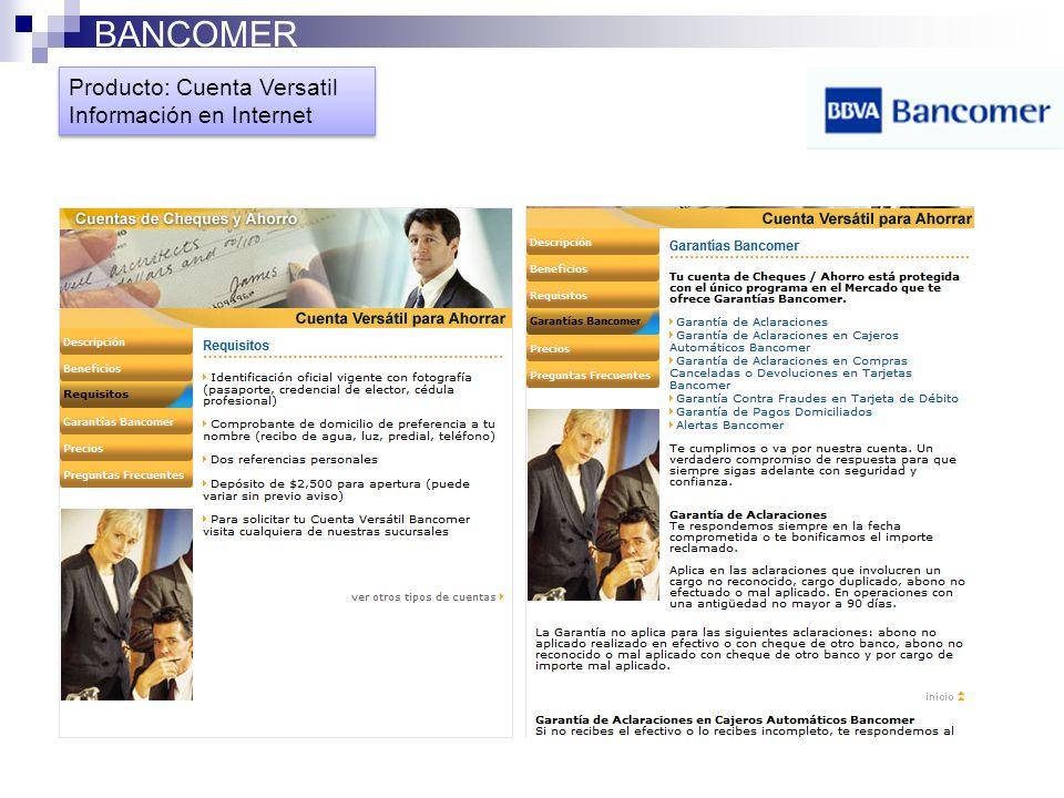 BANCOMER Producto: Cuenta Versatil Información en Internet