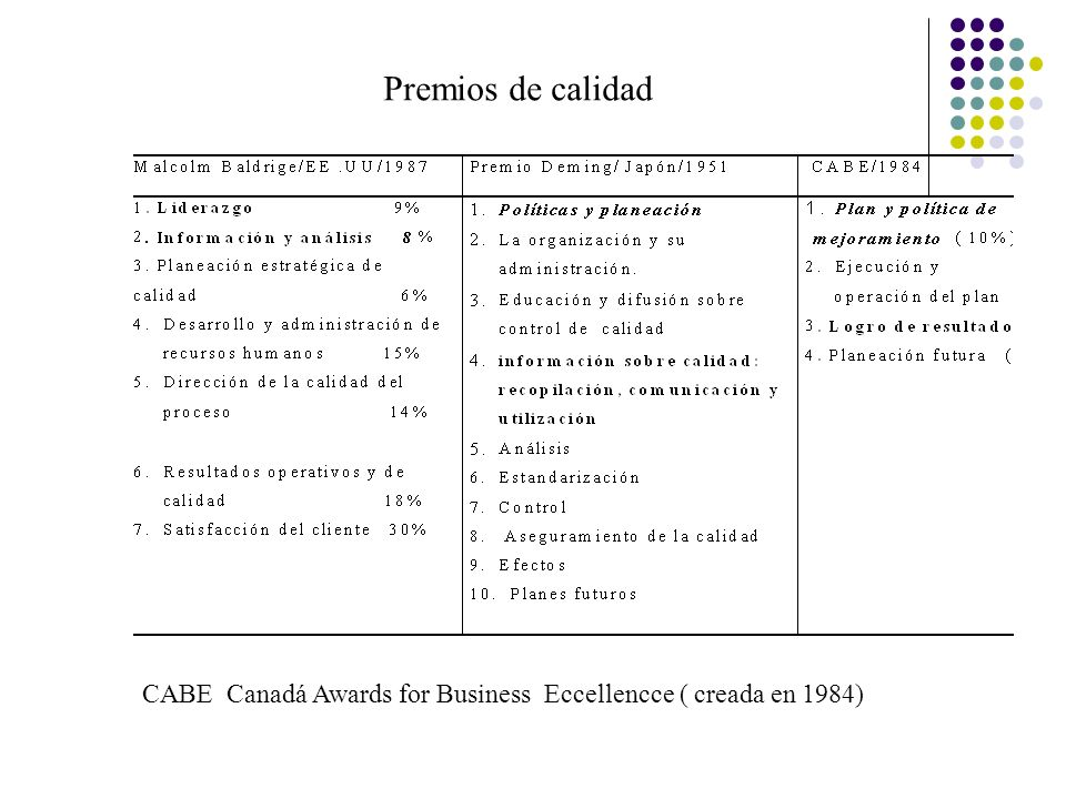 Premios de calidad CABE Canadá Awards for Business Eccellencce ( creada en 1984)
