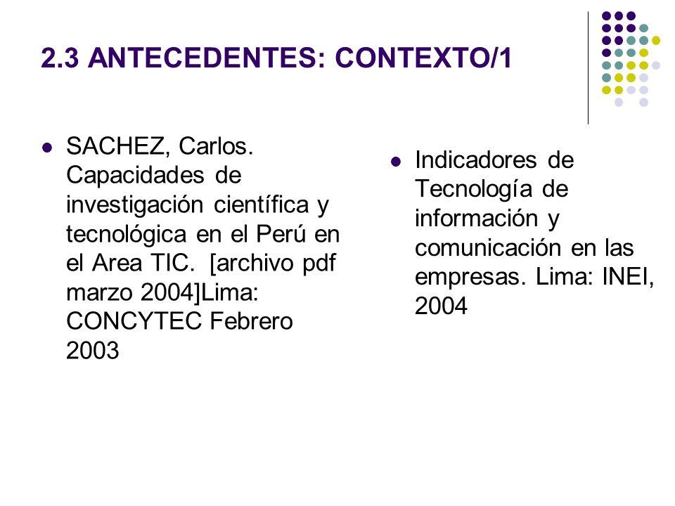 2.3 ANTECEDENTES: CONTEXTO/1