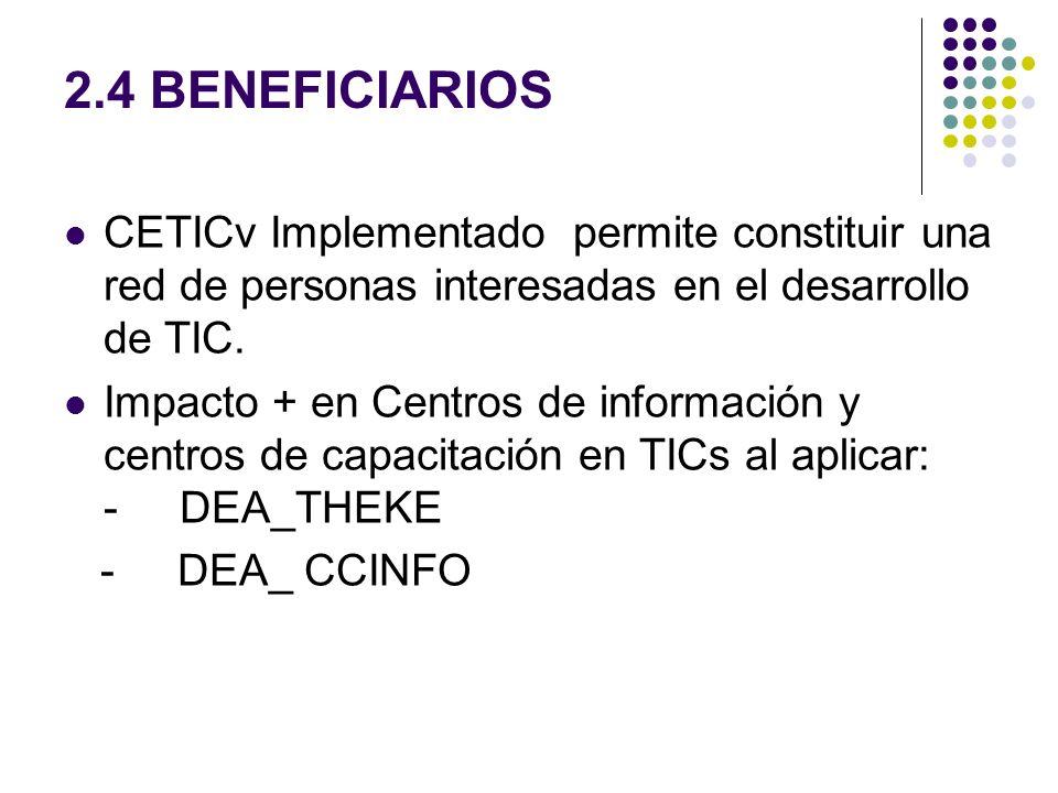 2.4 BENEFICIARIOS CETICv Implementado permite constituir una red de personas interesadas en el desarrollo de TIC.