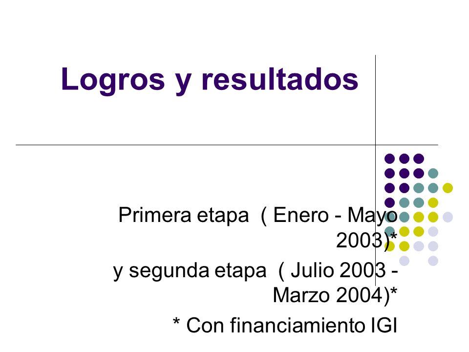Logros y resultados Primera etapa ( Enero - Mayo 2003)*