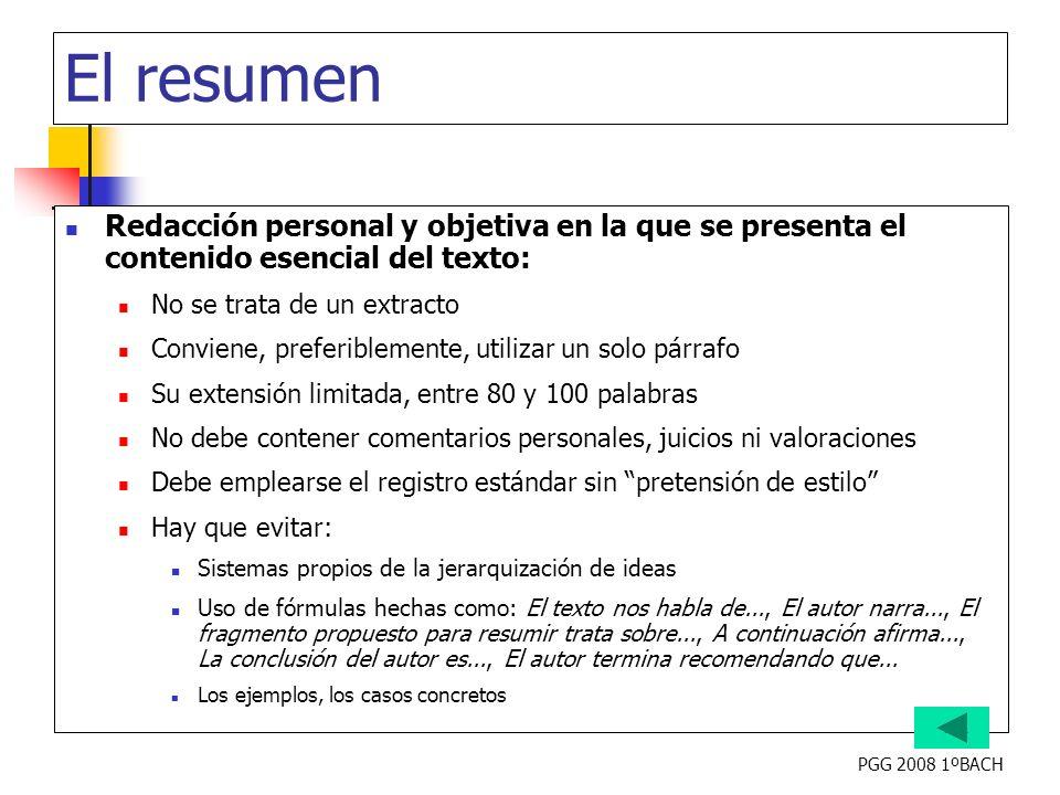 El resumen Redacción personal y objetiva en la que se presenta el contenido esencial del texto: No se trata de un extracto.