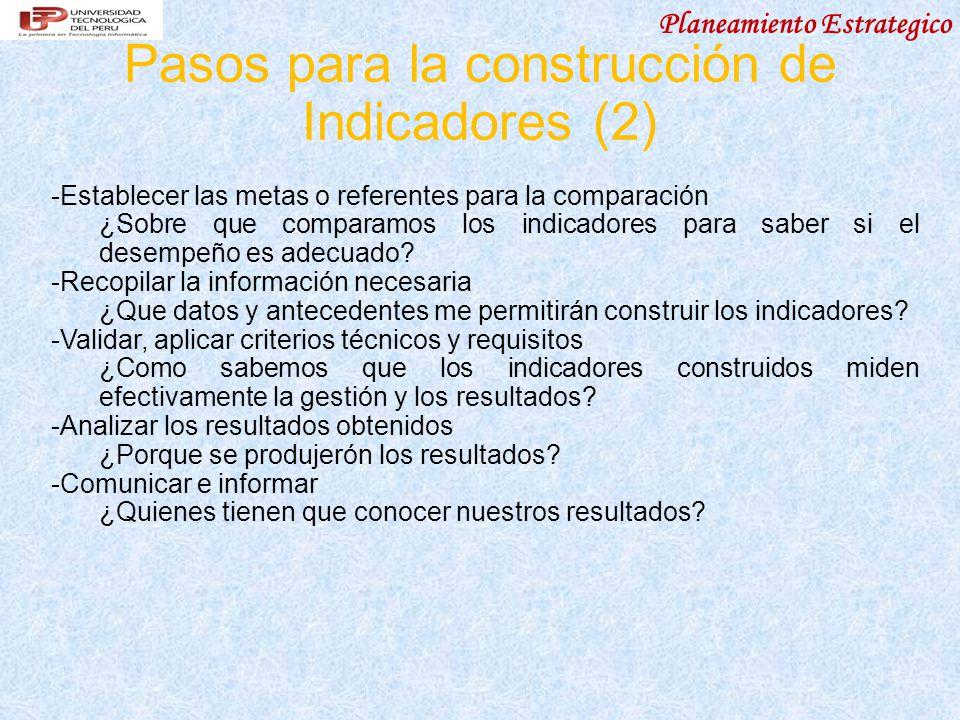 Pasos para la construcción de Indicadores (2)