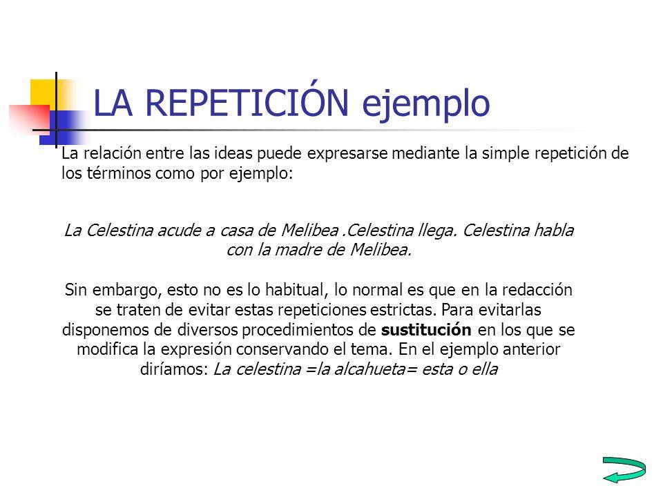 LA REPETICIÓN ejemplo La relación entre las ideas puede expresarse mediante la simple repetición de los términos como por ejemplo: