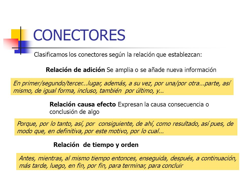 CONECTORES Clasificamos los conectores según la relación que establezcan: Relación de adición Se amplia o se añade nueva información.