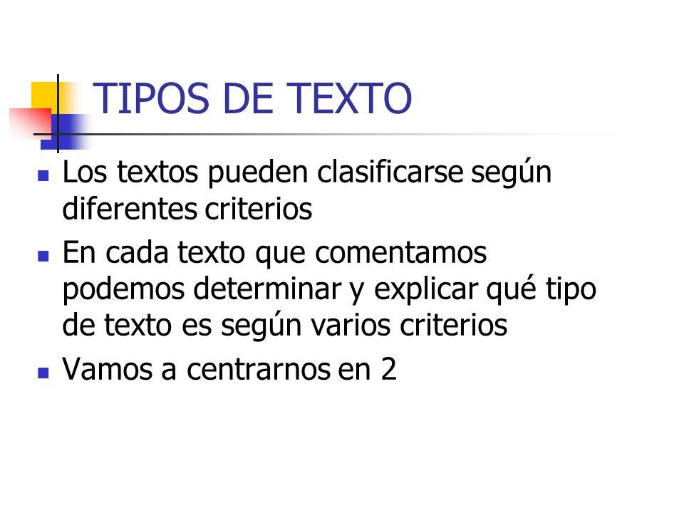 TIPOS DE TEXTO Los textos pueden clasificarse según diferentes criterios.