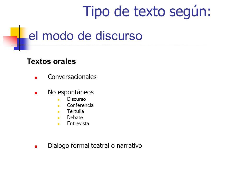 Tipo de texto según: el modo de discurso Textos orales