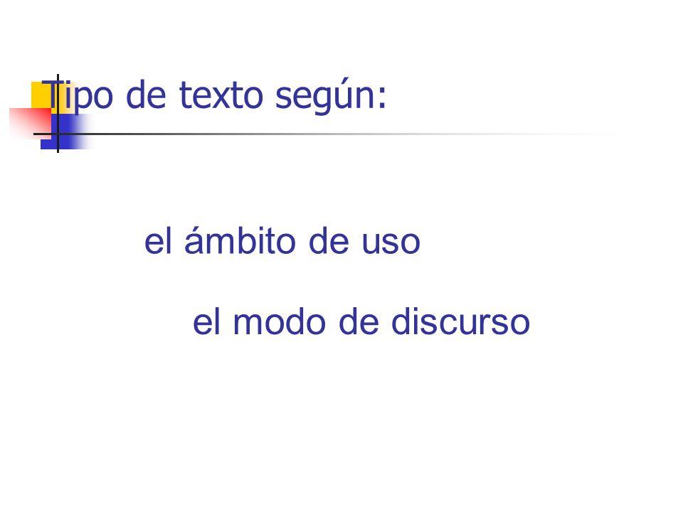 Tipo de texto según: el ámbito de uso el modo de discurso