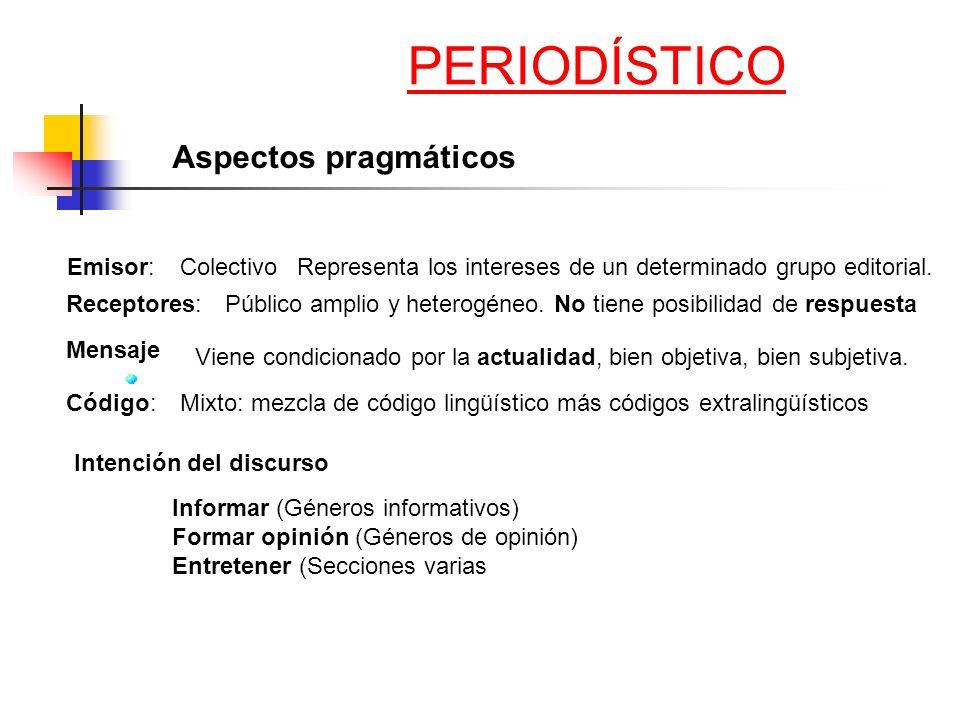 PERIODÍSTICO Aspectos pragmáticos Emisor: Colectivo