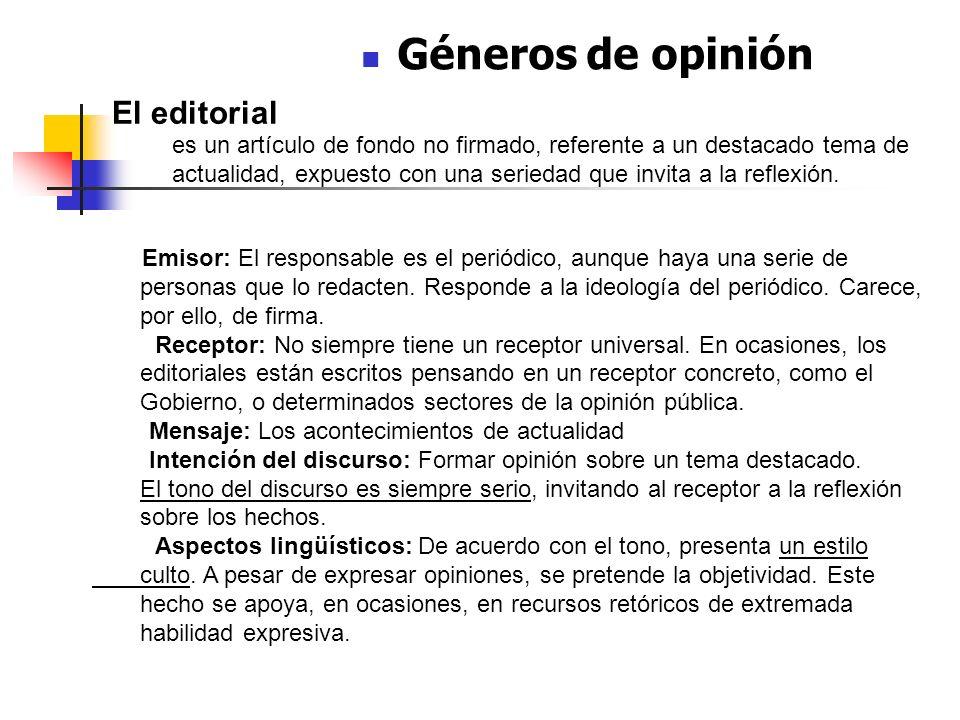 Géneros de opinión El editorial